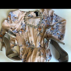Peach floral print short dress